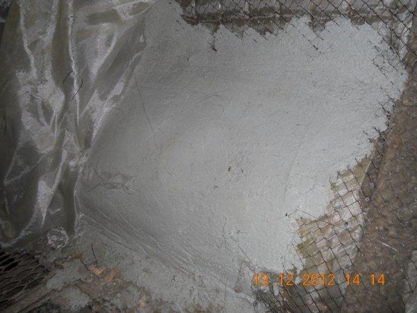 Термо-Штукатурка после высыхания на газоходе с сеткой поверх базальтовой изоляции 2.3